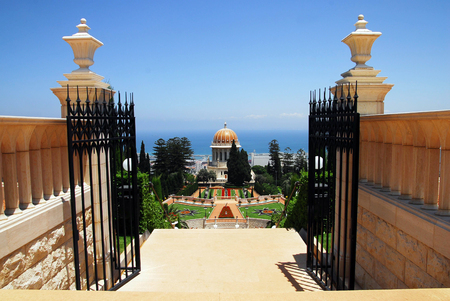 baha: The Bahai Temple and gardens in Haifa Israel Stock Photo