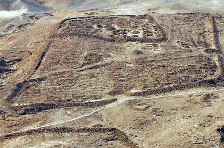 stronghold: The ruins of the Romans camp under Masada stronghold, Judea Desert, Israel.