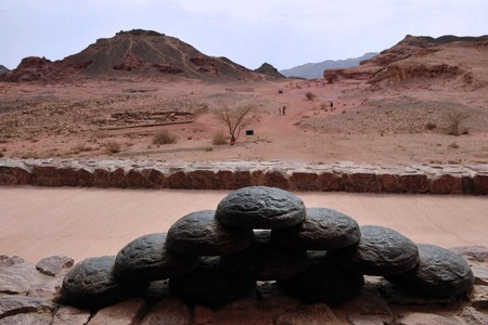 timna: Exhibit of ancient Egypt copper mining accessories in Timna Park, Israel.