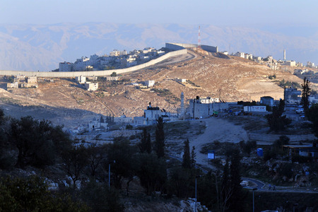 west bank: The Israeli West Bank barrier and separation wall in Jerusalem, Israel.