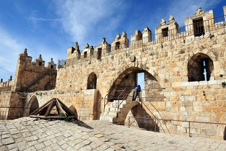 nablus: Damascus Nablus Gate in the walls of Jerusalem old city Israel Stock Photo