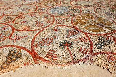 synagogues: JERICHO-DECEMBER 14: Ancient mosaic at the Good Samaritan church near Jericho, Israel on December 14 2008. Ine of the worlds largest mosaic museums Editorial