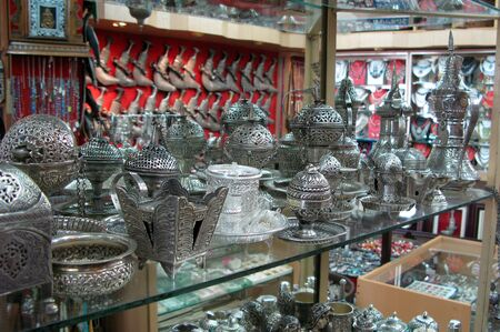 muttrah: Silver Merchandise on display at Muttrah Souq in Oman. Editorial