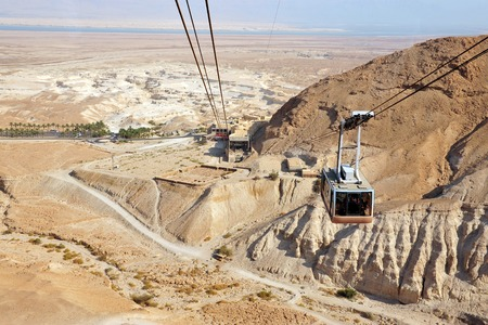The cable car to Masada stronghold, Judea Desert, Israel. photo