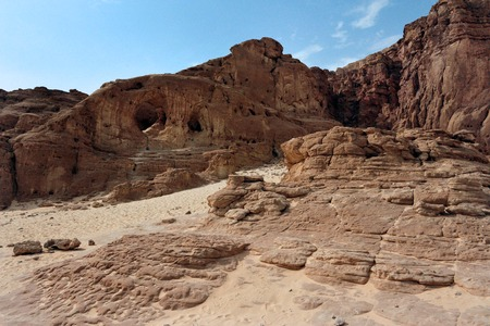 seldom: Geological rock formations in Timna Park, Israel. Stock Photo