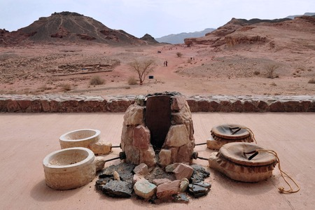 timna: Exhibit of ancient Egypt copper mining accessories in Timna Park Israel