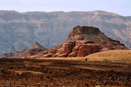 timna: Geological rock formations in Timna Park, Israel. Stock Photo