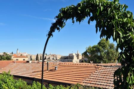 View of Jerusalem walls from Yemin Moshe neighborhood Jerusalem, Israel. photo