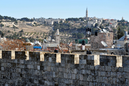 protection of the bible: The walls and gates of Jerusalem old city Israel