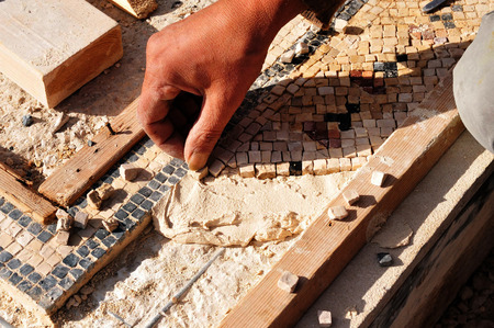 synagogues: Ancient mosaic at the Good Samaritan church near Jericho, Israel on December 14 2008.  Editorial