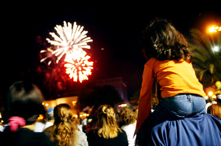Fireworks show during Independence day. Stock Photo