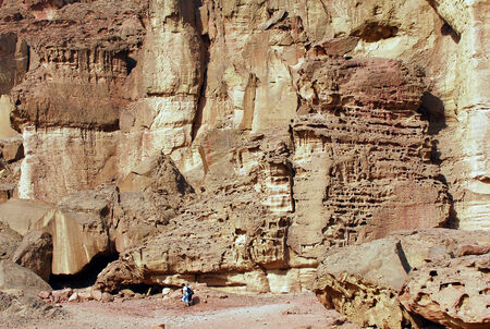 timna: TIMNA, ISR - OCT 15:Visitors in Timna Park on October 15 2008.Its the world's first copper production center founded my the Egyptian in the in Timna valley over 5000 years ago.