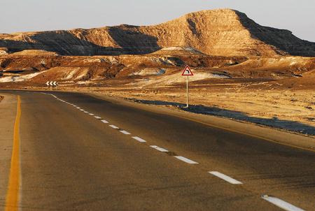 Desert Road along the Arabah area in the Jordan Rift Valley in south, Israel. photo