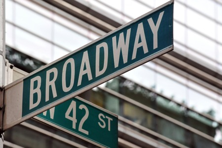 42nd: Street sign on the corner of Broadway and 42nd Street in Manhattan, New York City