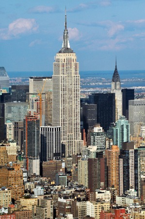empire state building: An aerial view of the Empire State Building in Manhattan, New York.