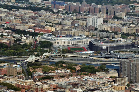 yankees: An aerial view of the yankees stadium from helicopter above Manhattan, New York. Editorial