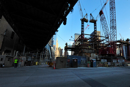 NEW YORK - OCTOBER 09: Crane builds the One World Trade Center site on October 09 2009 in Manhattan New Center, USA.