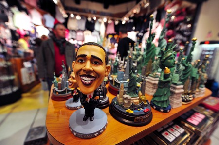 The 44th President of the United States Barak Hussain Obama statue in a gift shop in Manhattan New York USA