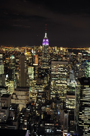 top seven: An aerial view of the Empire State Building at night in Manhattan, New York. Stock Photo
