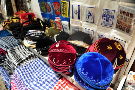 acre: Goods in the old market of Akko in Acre, Israel.