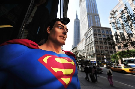 Superman and the Empire State Building in Manhattan, New York.
