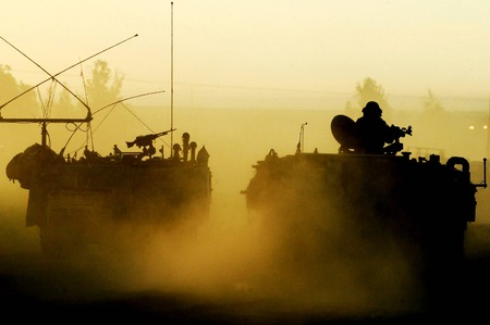 incursion: Israeli Army troops on the Israel-Gaza border are entering in and out from Gaza Strip to renew forces on Wednesday, January 14, 2009 The Israeli defense ground forces progressed slowly into Gaza city to prevent civilian casualties.  Editorial
