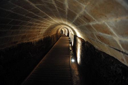 acre: Acre knight templar tunnel in Acre Akko, Israel.