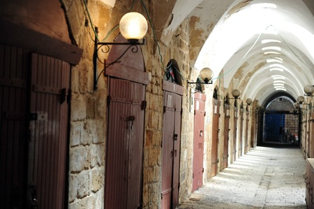 akko: The old market of Akko empty in Acre, Israel. Editorial