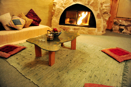 lodges: Interior of a desert lodges in the Negev desert , Israel. Stock Photo