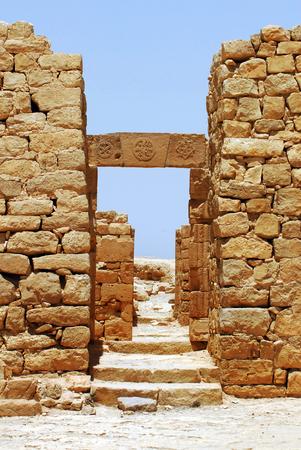 nabataean: Gates of ancient Nabataean town of Shivta , Israel.