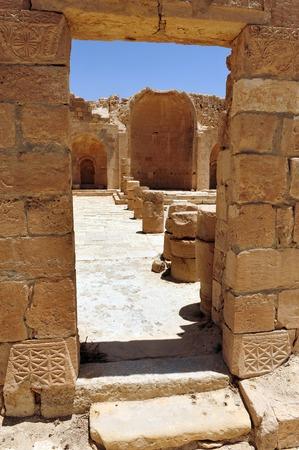 nabataean: Gates of ancient Nabataean town of Shivta  Israel Stock Photo