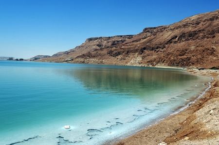 at sea: View of Dead Sea coastline. Dead Sea, Israel.