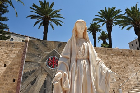 annunciation of mary: Statue of the young Mary near the Basilica of the Annunciation in Nazareth, Israel.