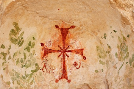 religious art: A cave with cross markings at ancient Beit Shean in Israel