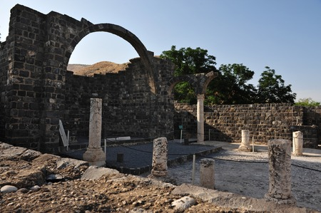golan: The church in Kursi the largest Byzantine Monastery in Golan Heights on the kinneret lake