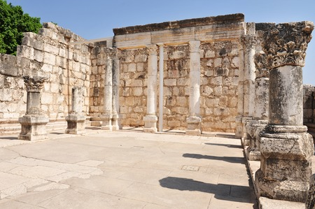 synagogues: TIBERIAS - JUNE 19:The ancient synagogue in Capernaum on June 19 2009 in Kfar Nahum near Tiberias, Israel.Its among the oldest synagogues in the world. Stock Photo