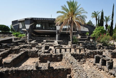 Excavations of the ancient city of Capernaum on the shores of Lake Kinneret, where he lived and preached Christ in Capernaum (Kfar Nahum) - Israel.