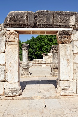 synagogues: TIBERIAS - JUNE 19:The gate to the ancient synagogue in Capernaum on June 19 2009 in Kfar Nahum near Tiberias, Israel.Its among the oldest synagogues in the world.