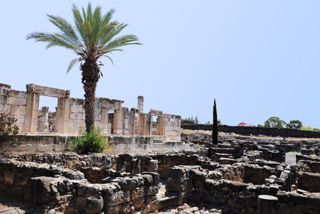 preached: TIBERIAS - JUNE 19:Excavations of the ancient city of Capernaum in Capernaum on June 19 2009 in Kfar Nahum near Tiberias, Israel.It belived that its where Jesus Christ lived and preached.