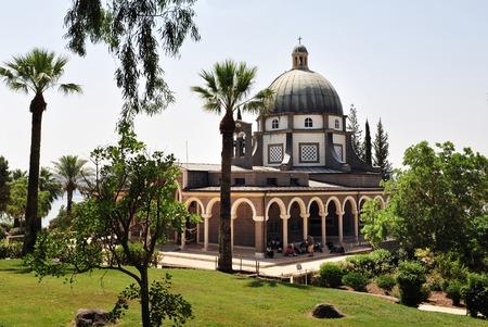catholic chapel: Roman Catholic chapel at Mount of Beatitudes near Lake Kinneret, Israel. Stock Photo