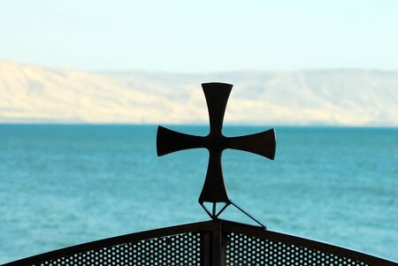 galilee: Outside the church in Capernaum or Kfar Nahum, a settlement on the shore of the Sea of Galilee.