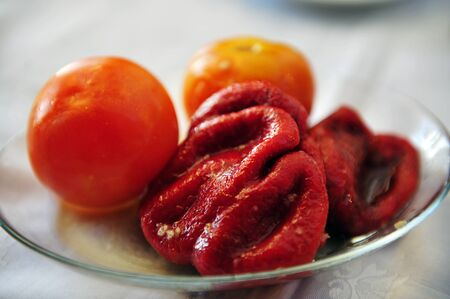 romanian: Traditional romanian cuisine tomato and capsicum salads.