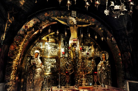 purported: JERUSALEM - JULY 30: The Sepulchre of Jesus Christ in the church of the holy sepulchre on July 30 2009 in Jerusalem, Israel.For many Christians the  it is the most important – pilgrimage destination since at least the 4th century, as the purported site  Editorial