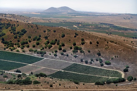 golan: View of the Golan Heights from Mt Bental Israel Stock Photo