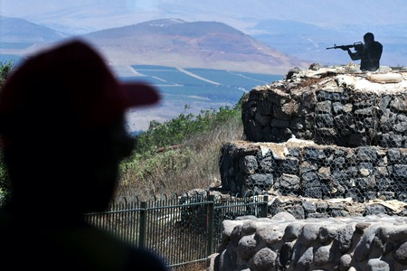 in the heights: Mount Bental in the Golan Heights Israel Stock Photo