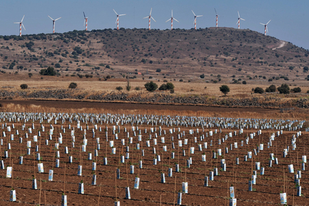 heights: Wind generators in the Golan Heights Israel Stock Photo