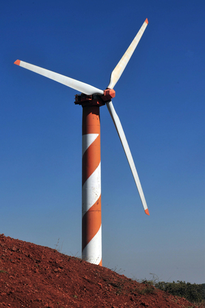 heights: Wind generator in the Golan Heights, Israel.