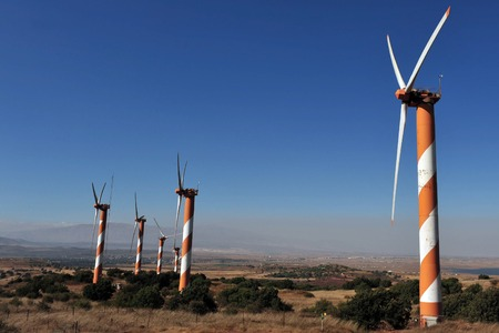 heights: Wind generators in the Golan Heights, Israel.