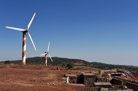 the golan heights: Wind generators in the Golan Heights Israel Stock Photo