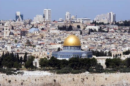 mount of olives: A view of Jerusalem old city and the dome of the rock from Mount Olives Stock Photo